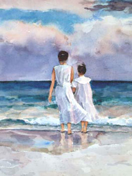 girls beach watercolor